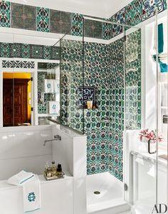 The master bath is adorned with antique Iznik tiles | archdigest.com