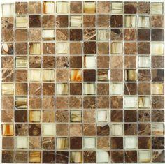 "Botanical Glass  1 x 1 , 1"" x 1"", Brown, Polished, Brown, Glass and Stone"