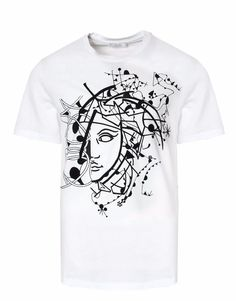 Versace Collection Men's Medusa Print S/S Crew Neck White T-Shirt Large NWT $250…
