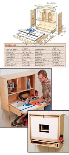 Building a Wall-Mounted Router Table : For the Wall-Mounted Router Table Diagram and Materials List in PDF Format, click here. (http://www.rockler.com/how-to/building-wall-mounted-router-table/)                                                                                                                                                     Mais