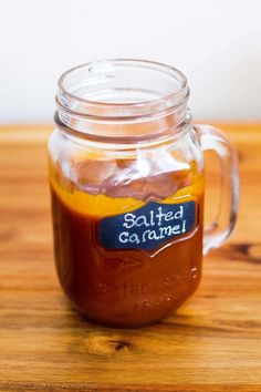 This Homemade Salted Caramel Sauce from Sally's Baking Addiction is delicious! Caramel Recipes, Apple Recipes, Sweet Recipes, Just Desserts, Delicious Desserts, Dessert Recipes, Yummy Food, Dessert Sauces, Dessert Original