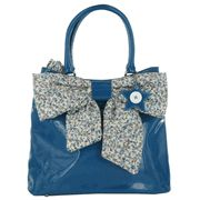 IRREGULAR CHOICE HANDBAGS BOW PEEP SHOPPER BLUE LARGE BAG