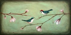 """The thread of love"" by Santie Cronje (Bird Art)"
