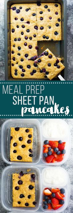 These no flipping meal prep protein pancakes are baked up in a pan, and make a big batch that will actually fill you up! Stock up your freezer and thaw as needed. #easylunchboxes #mealprep #proteinpacked