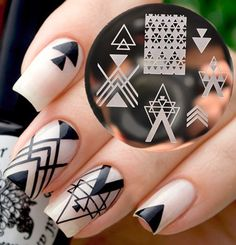 Cheap plate, Buy Quality plate cover directly from China plate scrap Suppliers: BORN PRETTY Negative Space Nail Art Stamping Stamp Template Image Plates Cool Triangle Nail Stamp Plate Nail Art Stamping Plates, Nail Stamping, Nail Plate, Trendy Nail Art, Cool Nail Art, Line Nail Art, Triangle Nails, Space Nails, Nail Art Images