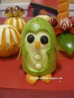 Baby Penguin from a Marrow Squash  ~~  Fruit Carving Arrangements and Food Garnishes