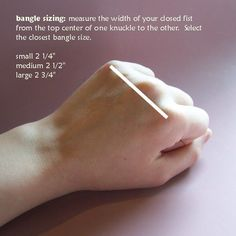 The three standard bangle sizes, and how to find out what size you are -- via Alterations Needed