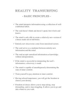 Basic Transurfing Principles