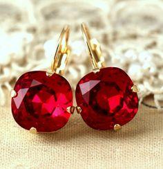 Ruby Red EarringsSwarovski Drop EarringsCrimson Drop Red Earrings, Art Deco Earrings, Teardrop Earrings, Crystal Earrings, Crystal Jewelry, Red Jewelry, Jewelry Gifts, Stylish Jewelry, Gold Jewellery