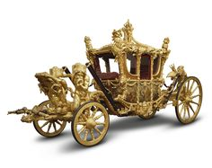 GOLD STATE COACH, 1762, Samuel Butler (active 1762, coach builder), Commissioned late in 1760 by The King's Master of the Horse, Francis Hastings, 10th Earl of Huntingdon (1729-89) for George III for his coronation in 1762 and wedding to Princess Charlotte of Mecklenburg-Strelitz, gilded wood