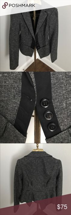 Nanette Lepore tailored gray wool blend jacket Black ribbon trim, flattering tailored fit, slight pilling in the shoulder area but hard to notice and photograph Nanette Lepore Jackets & Coats Blazers