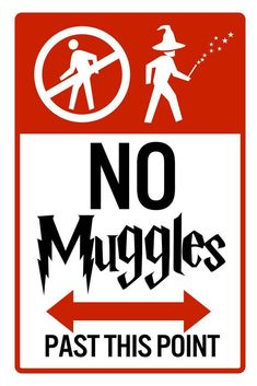No Muggles Past This Point Sign – Poster - Canvas Print - Wooden Hanging Scroll Frame