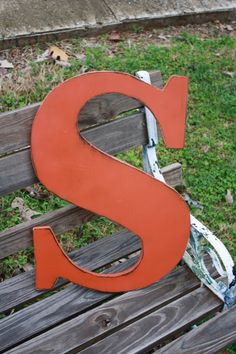 """12"""" letter S wooden by sweetshelbys ($20)"""