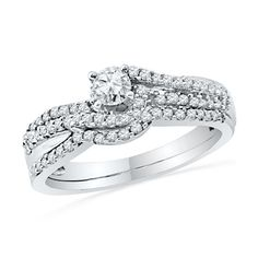 1/2 CT. T.W. Diamond Double Row Bridal Set in 10K White Gold - View All Rings - Zales