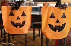 DIY Halloween pillowcase chair covers
