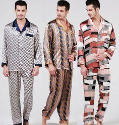 Mens Silk Satin Pajamas Set  Pyjamas PJS Sleepwear Set  Loungewear S M L XL