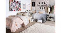 Need Help With Your Dorm Room? Free Advice On Decorist Design Bar! Dream Bedroom, Girls Bedroom, Bedroom Decor, Sister Room, Cute Bedroom Ideas, Dorm Room Organization, Interiores Design, Girl Room, Space Saving