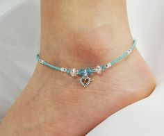 Anklet, Ankle Bracelet, Heart Dangle Charm, Turquoise Blue, Clear AB, Swarovski Crystal, Beaded, Customizable, Beach, Vacation