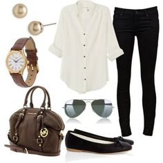 """Classic black and white outfit. Black skinny jeans, loose white blouse with a pair of black flats. Simple and chic. (Rag & Bone white Cavendish Shirt/blouse. """"The Looker Skinny Jean"""" in black by Mother -from FarFetch)"""