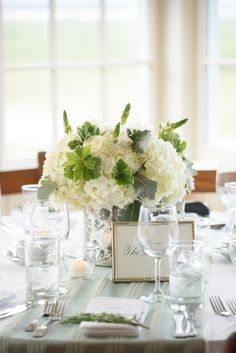 Green and White Wedding Centerpiece - Soiree Floral - Nantucket Wedding | Photo by Joe Mikos