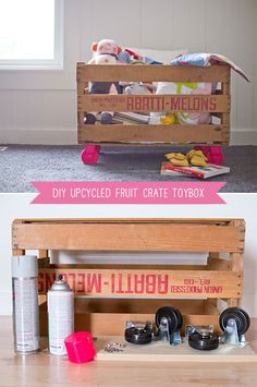 DIY Upcycled Fruit Crate Toy Box- if i could find one or two or these this would be perfect for levi's room! Easy Projects, Projects For Kids, Wood Projects, Recycling Projects, Diy Kids Room, Diy For Kids, Kids Rooms, Diy Toy Box, Toy Boxes