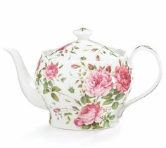 Amazon.com: Saddlebrooke Porcelain Pink Rose Teapot With Gold Accents: Kitchen & Dining