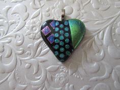 Fused Dichroic Heart  Fused Dichroic Pendant  Fused by feesfusions