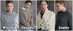 These projects all feature a different weight of chunky yarn.
