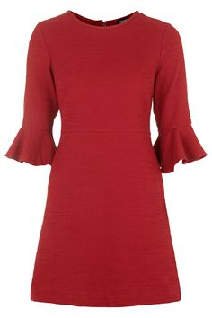 AUTUMN STYLE: I love this Textured Bell Sleeve Dress from Topshop - pair with black boots and bare legs on a mild day - add black tights for cooler weather. Pair with a leather or dark denim jacket for a casual vibe or fur collared long coat for a more dressy 70's look.