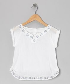 Take a look at this White Cross-Stitch Tunic - Toddler & Girls by Wheat on #zulily today!