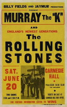 """""""England's Newest Sensations"""" - The Rolling Stones Concert Poster from the 1964 Carnegie Hall Concert. Rolling Stones Album Covers, Rolling Stones Tour, Carnegie Hall, Bruce Dickinson, Power Metal, Tour Posters, Band Posters, Vintage Concert Posters, Vintage Posters"""