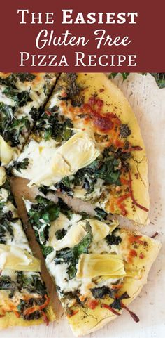 Finally a gluten free pizza dough recipe that anyone can easily make! We topped ours with kale and artichokes for healthy topping choices!