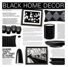"""""""Black Home Decor"""" by pauirh ❤ liked on Polyvore featuring interior, interiors, interior design, home, home decor, interior decorating, Eichholtz, Pottery Barn, Alaïa and Artemide"""