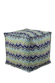 Seamed Beaded Pouf - See Saw Felix Blue