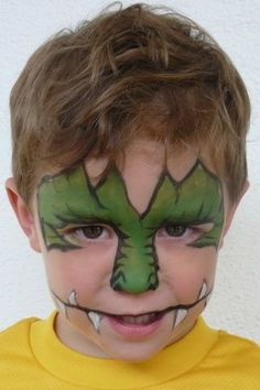 five minute faces - Please post awesome monster faces! - Page 2 (Halloween Face Paint) Dinosaur Face Painting, Monster Face Painting, Dragon Face Painting, Facial Painting, Body Painting, Halloween Kids, Halloween Makeup, Halloween Face, Zombie Makeup