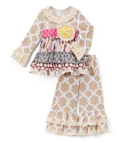 Brown & Pink Lace Ruffle Dress & Pants - Girls #zulily #zulilyfinds