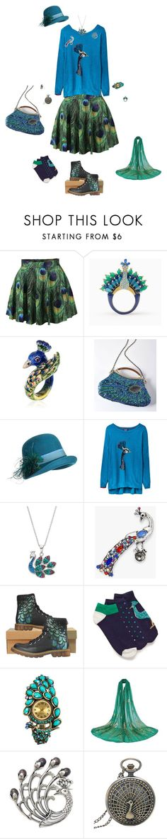 """Peacock Outfit"" by gailgoo ❤ liked on Polyvore featuring Kate Spade, Nach, Overland Sheepskin Co., Joules, John Lewis and NOVICA"