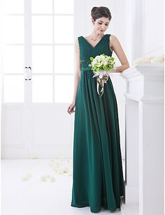 Another great color for fall weddings. A-line Floor-length Chiffon And Stretch Satin Bridesmaid Dress