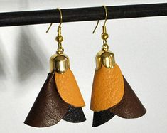 Eco friendly earrings.Leather earrings.Leather jewelry.Contemporary jewelry.Brown leather jewelry.Brown earrings.Fashion earrings