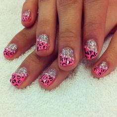 Girly Pink leopard nails via beautylish.com