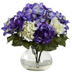 Mixed Hydrangea w/Vase Easy care silk flowers  From Silkyflowerstore.com #fakeflowers