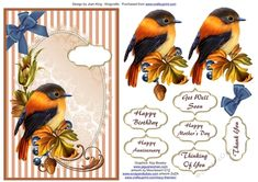 Cuteness in Autumn by Joan King A decoupage sheet of a bird: A decoupage sheet of a bird
