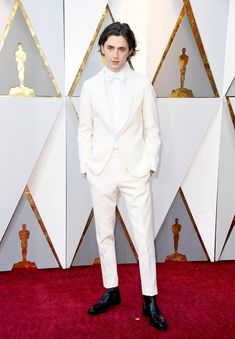 Timothee Chalamet in total white at the Oscars God