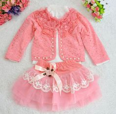 girl set new fashion 2015 hot sale girl clothes popular pearl Bowknot Coat + T-shirt + tulle Skirt vetement enfant fille
