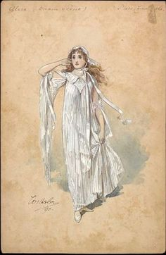 Costume design by Wilhelm (Charles William Pitcher, for Miss Carrie Coote as Alice Fitzwarren for the Dream Scene in the pantomime Dick Whittington as performed at Crystal Palace on December Wilhelm Pantomime Designs. Costume Design Sketch, Pantomime, Theatre Costumes, Creative Costumes, Vintage Gowns, Watercolor Sketch, People Art, Fashion Plates, Antique Art