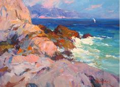 Evening in the Rocks by Alexandr Kriushin. Oil painting on canvas, seascape.   Seascape, Oil, 80 x 60 x 2 cm  $940.00