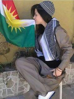 ♥Kurdish♥ girl♥ with ♥kurdistan♥ flag  ♥