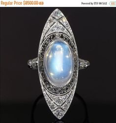 Vintage Art Deco Moonstone and Diamond Ring. Offered by VictoriaSterling on Etsy.