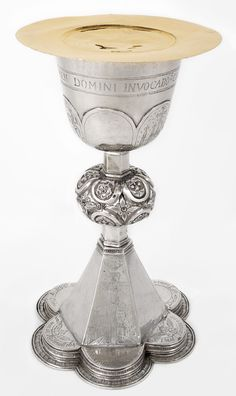 "63. Silver Chalice. This superb silver chalice declares its origins very clearly. Engraved on the base in Latin is ""Malachy O'Queally Doctor of Sacred Theology from Paris and Archbishop of Tuam had this chalice made for the convent of friars minor of Rosserrilly \[Co Galway], 1640."" O'Queally, with his continental connections, was representative of the key role of the Franciscans in re-creating an Irish Catholic identity after the Flight of the Earls."
