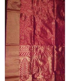 Rust handloom Banarasi Tissue Silk Saree